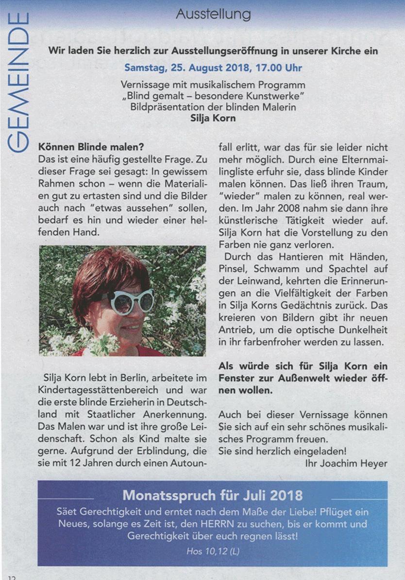 Ausstellungsinfo aus dem Tegeler Gemeindeblatt